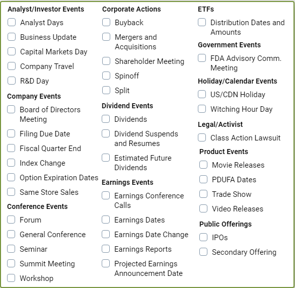 Earnings Calendar | Wall Street Horizon